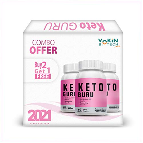 Vokin Biotech Keto Guru Tablets for weight loss with Garcinia Cambogia + Green Tea 60 Tablets Buy 2 Get 1 Free