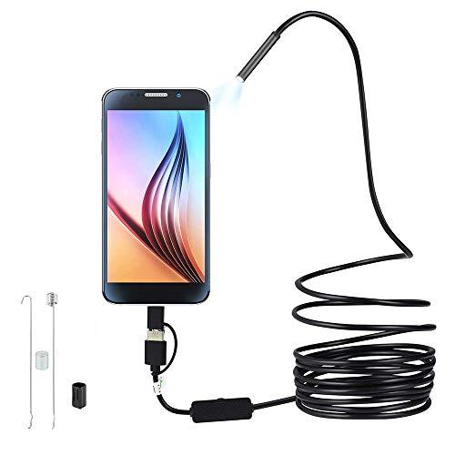 Keyohome Endoscopio Android 3 in 1 Impermeabile IP67 USB Telecamera di Ispezione con LED Cavo Serpente Rigido per Dispositivo Tablet Smartphone (1m)