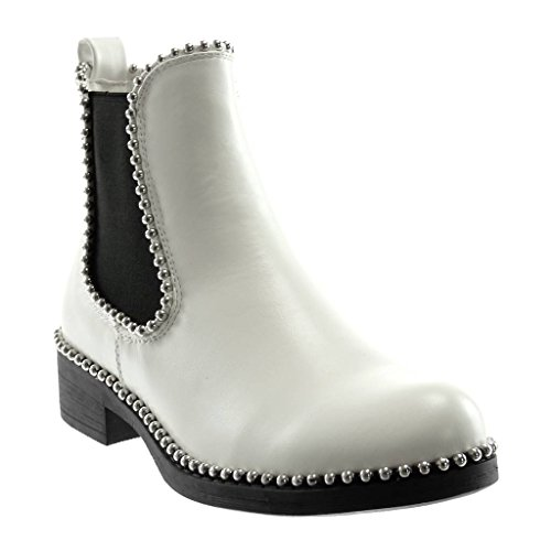 Angkorly - Damen Schuhe Stiefeletten - Chelsea Boots - Slip-On - Biker - Perle - Nieten - besetzt -...