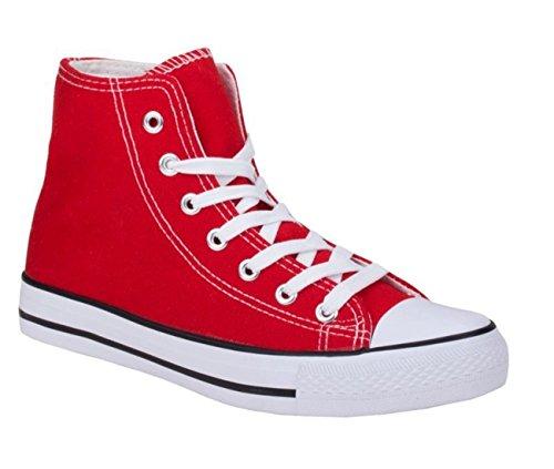 JUMEX Neu Damen Sneakers Freizeit Turnschuhe High Top Schuhe (36, Rot)