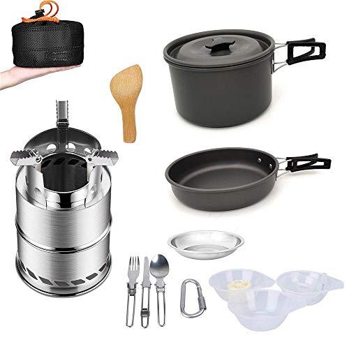 Ustensiles en aluminium léger Camping Gamelle extérieur Pliable Équipement de cuisine Ustensiles de mess Kit Pan Pot Poêle Spork Pots Pans (Couleur: Noir, Taille: FREE SIZE) kyman