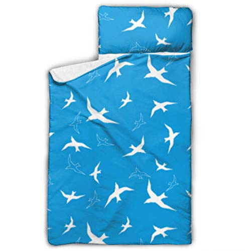 Kawaii White Bird Holy Pure Toddler Nap Mat Bag Sacos de Dormir para niños para niños con Manta y Almohada Diseño Enrollable Ideal para preescolares Guarderías para niños 50