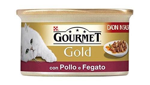 Purina Gourmet Gold - Tuercas de Salsa con Pollo y hígado, 24 latas de 85 g Cada una, 24 Unidades de 85 g