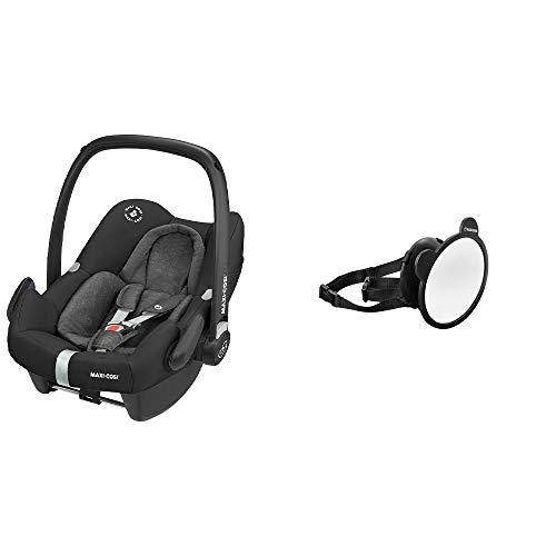 Maxi-Cosi Rock Babyschale, sicherer i-Size Kindersitz, Gruppe 0+ (0-13 kg), nutzbar ab der Geburt bis 12 Monate, nomad black + großer Baby Rückspiegel, passend für alle Autos