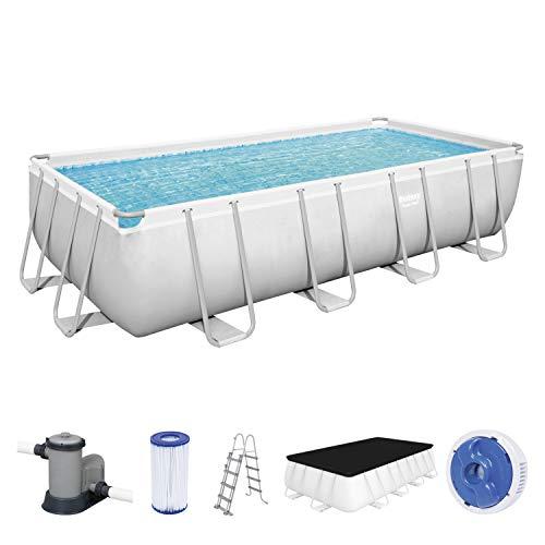Power Steel Frame Pool Komplett-Set, eckig, mit Filterpumpe, Sicherheitsleiter & Abdeckplane 549 x 274 x 122 cm