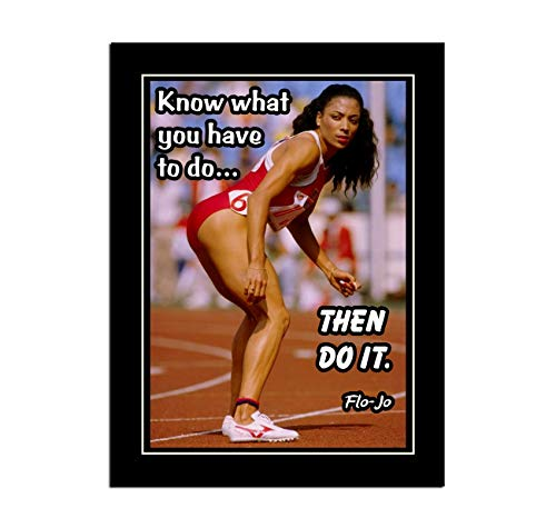 JIHONG Inspirational Motivational Posters and Prints Home Decor Oil Paintings on Canvas Flo-Jo Florence Griffith Joyner Then Do it (12x16inch,Unframed)