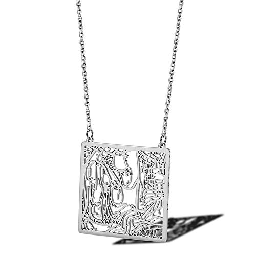 SWAOOS Jerusalem Stadtplan Halskette Israel Jüdische Reise Halskette Hebräischer Stern David Pessach Zubehör Halsketten Aus Edelstahl