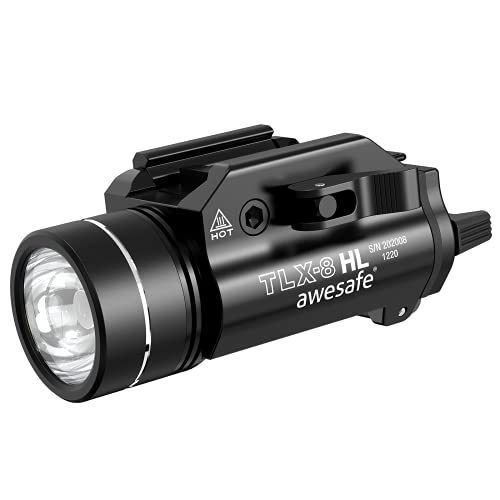 awesafe 1200 Lumens Tactical Weapon Light Flashlight Adjustable Mount Rail with 1913/ GL/S&W 99/ TSW Rail, Two CR123A Batteries (Included)