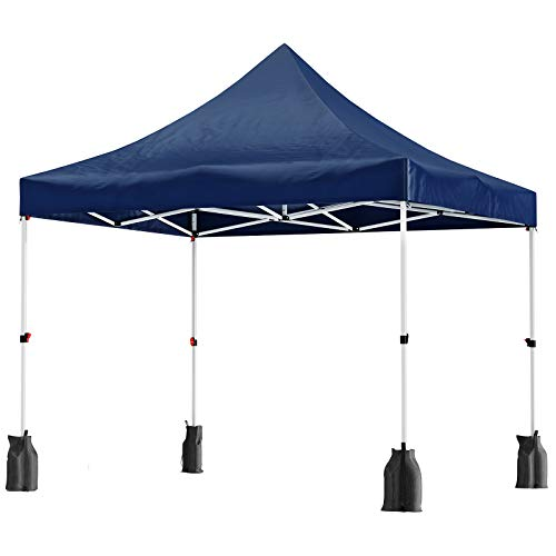 SONGMICS 3 x 3 m Garden Gazebo, Anti-UV Pop-Up Canopy Tent, Waterproof Party Shelter, with Sandbags, Pegs, Ropes, and Wheeled Carry Bag, for Outdoor Wedding Patio Events, Blue GCT30IN