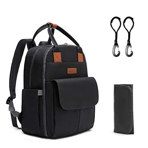Kkomforme Baby Wickelrucksack Wickeltasche mit Wickelunterlage, Multifunktional Große Kapazität Babytasche Reiserucksack für Unterwegs (Schwarz)