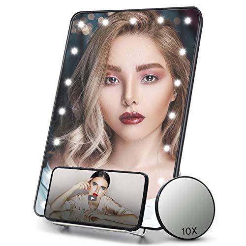 FASCINATE Espejo Maquillaje Portatil Iluminado con Soporte para Telefono, Aumento 10x, LED Viaje Espejo de Mesa Vanidad de Pantalla Tactil Regulable Pequeno Espejo Colgante