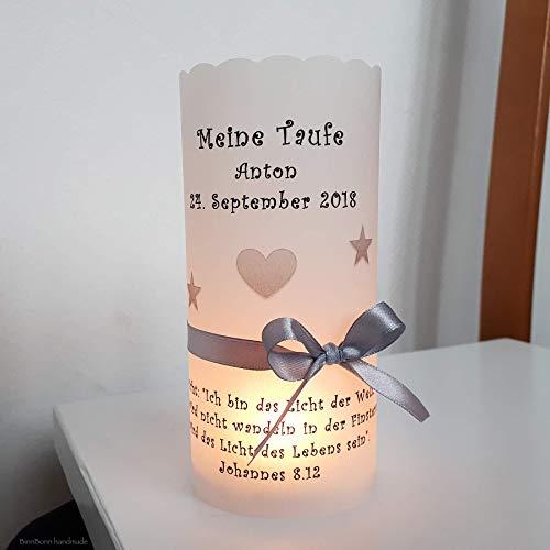 10 personalisierte Lichthüllen Teelichthüllen für Tischlicht Windlichter Tischdeko Taufe Kommunion Konfirmation Firmung Sterne grau Handarbeit binnbonn
