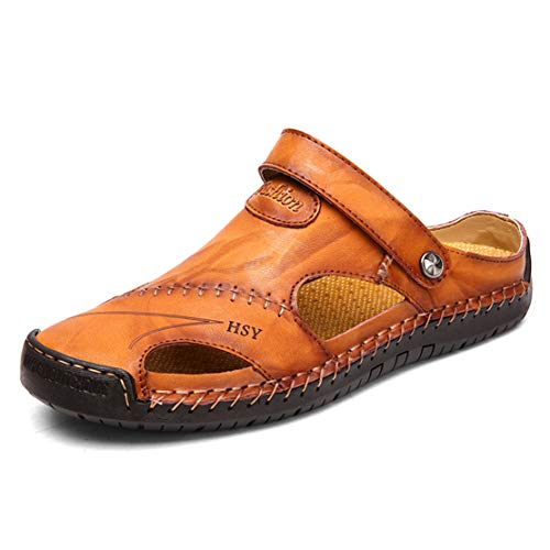 Herren Rindleder Geschlossene Sandalen Männer Wandersandalen Strandschuhe Ledersandalen Sommer Slipper Loafer