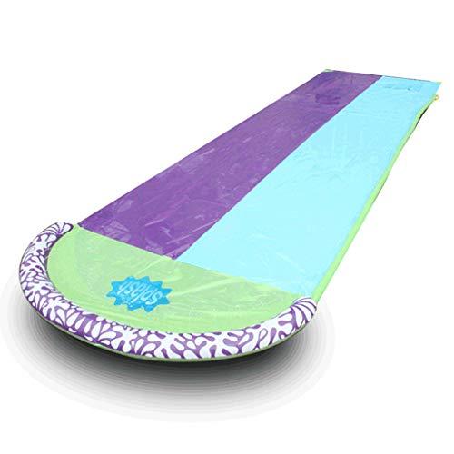 Sidougeri - Tobogán de agua doble para niños, para jardín, carreras, tobogán de agua de doble vuelta, PVC, tabla de surf en el exterior, patio trasero, tiempo divertido