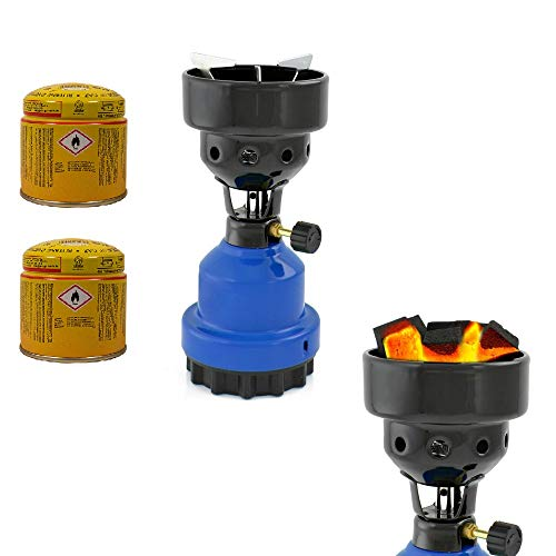 3-in-1 Camping Gaskocher mit Kartusche, Kohleanzünder, Anzünder für Shisha, Campingkocher mit 2X Gaskartuschen, stabiles Metallgehäuse, Blau