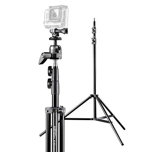 Mantona Group Selfie-set voor GoPro Hero incl. lampstatief/kogelkop/GoPro statiefadapter met 1/4 inch schroefdraad