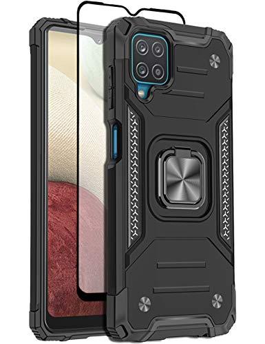 Teayoha Funda para Samsung Galaxy A12 5G, militar pesada blindada protección contra caídas cubierta protectora con anillo magnético con protector de pantalla de cristal templado, color negro