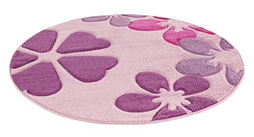 Luxor Living Kinderteppich Mädchen Kinderzimmer Blumen Design komplett umkettelt strapazierfähig pflegeleicht – hellrosa, Rosa-Flowers, 120cm rund