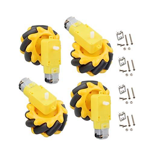SFUO 4 stücke 60mm mecanum Omni Rad + 4 stücke tt Motor + 4 stücke tt motorhalterung fit für arduino DIY Projekt fit forrappebeer fit forpi stem Spielzeug rc Teile (Color : Yellow Full Set)