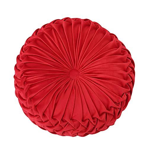 Oreiller Rond De Jet, Solid Color Velvet Citrouille De Divan Chaise Coussin Maison Décorative pour Canapé-lit Coussin De Taille De Coussin De Voiture De Voiture-Rouge 38x38cm(15x15inch)