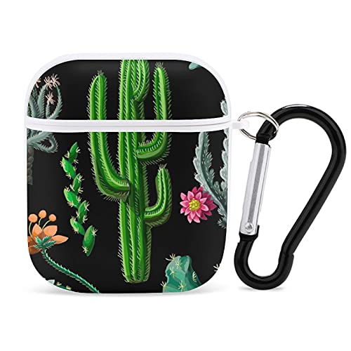 Funda para Airpods Cactus y Flores Airpods Funda para auriculares compatible con Apple Airpods 2 y 1, con llavero de silicona