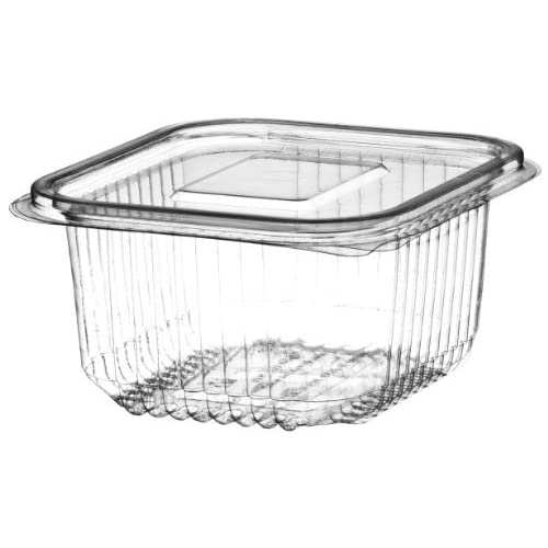 A Pack of 25-250cc CLEAR PLASTIC DISPOSABLE SALAD BOWLS WITH HINGED LIDS