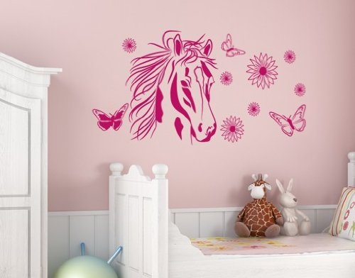 Flower Horse Wall Decal by Style & Apply - Wall Sticker, Vinyl Wall Art, Home Decor, Wall Mural - 2556 - Light pink, 47in x 30in