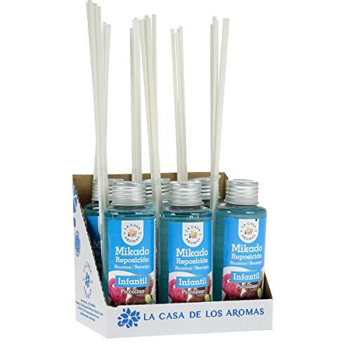 La Casa de los Aromas, Set de 6x100ml Ambientadores Mikado Infantil para Reposición con Varillas, Difusor Líquido de Aroma Infantil, Perfume Duradero para el Hogar, Baño, Casa