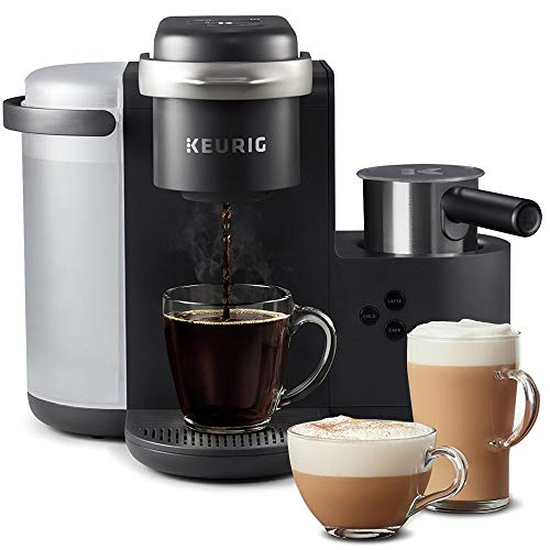 Keurig K-Cafe Coffee Maker, Single Serve K-Cup Pod Coffee, Latte and Cappuccino Maker, Comes with Dishwasher Safe Milk Frother, Coffee Shot Capability, Compatible With all K-Cup Pods, Charcoal (Renewed)