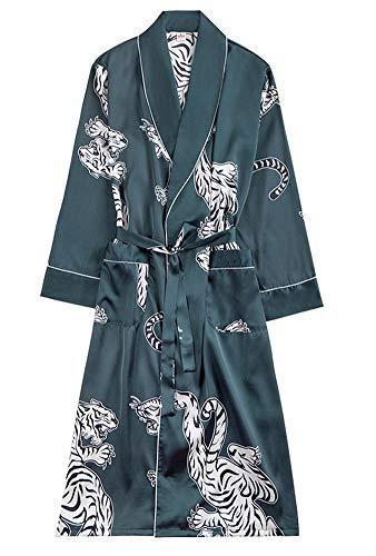 Men's Summer Kimono Soft Satin Robe with Shorts Nightgown Long-Sleeve Bathrobes Green