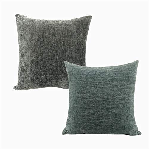 QXbecky Fundas de Cojines Funda de Almohada Cuadrada de Chenilla de Color Puro sin núcleo 1, Funda de Almohada de Microfibra para decoración de sofá de 2 Piezas 45cm