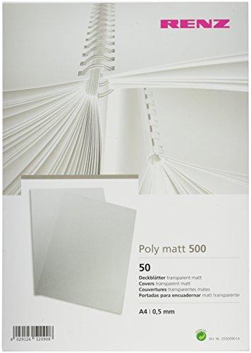Renz 205009014 Deckblätter matt 0,5 mm Stärke, DIN A4, transparent