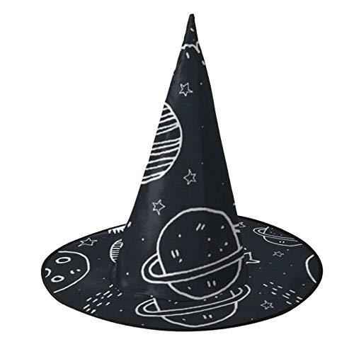 TYHG - Sombrero de bruja unisex para Halloween, accesorio para disfraz en 3D, diseo de cohete de planeta espacial para Halloween, cosplay, decoracin de fiesta para mujeres y nias, color negro