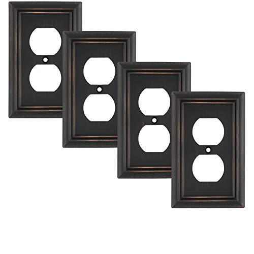 Pack of 4 Wall Plate Outlet Switch Covers by SleekLighting | Decorative oil rubbed bronze | Variety of Styles: Decorator/Duplex/Toggle / & Combo | Size: 1 Gang Duplex
