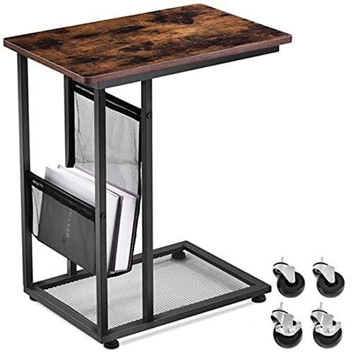 Tavolino Laterale da Letto, Tavolino da Salotto Tavolino Laterale, Tavolino da Divano Forma di c con Ruote e Rete di Stoccaggio per Camera da letto, Soggiorno 63X50X30CM (Vintage-Braun)
