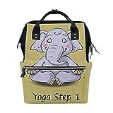 Zaino per la scuola con elefante in stile cartone animato che fa yoga Step 1, grande capacità, borsa per computer portatile, borsa da viaggio, zaino per donne, uomini, adulti, ragazzi e bambini