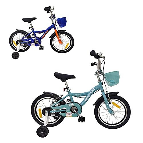 Makani, Bicicleta Infantil Benuta 16 Pulgadas Ruedas Entrenamiento Campana Cesta, Color:Azul Claro