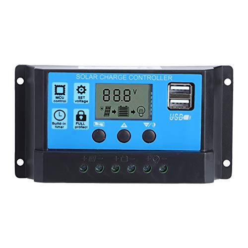 Fdit Regulador Solar automático de 12V 24V, regulador del Panel Solar Ajustable, para el hogar al Aire Libre