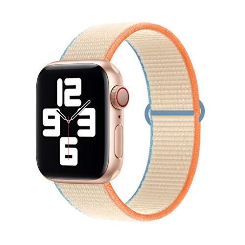 Correa de nailon para Apple Watch Band 44mm 40mm 42MM 38MM Para IWatch Band Pulsera Correa Correa de reloj para Apple Watch Series 4 3 5 SE 6-Cream, 42mm-44mm