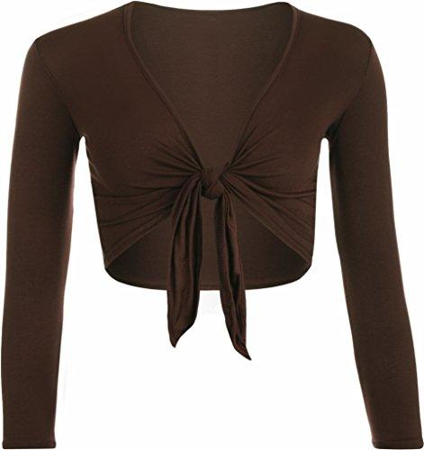 F&F nieuwe Womens dames lange mouwen Tie voorzijde Bolero bijgesneden Shrug Top vest (klein, bruin)