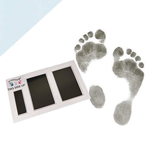 3D Hand Design Set voor Voetafdruk| zwart | voor pasgeborenen & baby's tot 3 maanden op elk papier | Magic Footprint Standard (Papierkleur: lichtblauw, voor maximaal 16 afdrukken)