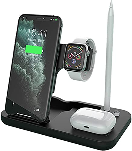 4 en 1 Chargers inalámbricos Stand 15W Fast Qi Carging Dock Station para Apple Watch & Airpods & Lápiz para iPhone 12/11 XS/XR Airpods 2 / Pro Apple Watch Series 6/5/4/3,Negro