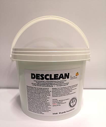 Desclean Desinfektionstücher Eimer 5%-Lösung, Spendereimer inkl. 90 XXL Putztücher 15,5cmx30cm Desinfektionsfeuchttücher zur Flächdesinfektion,Reinigungstücher wirksam gegen Bakterien, Viren & Keime