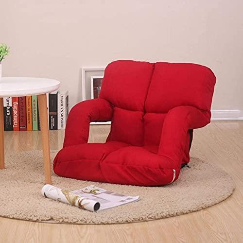 JYHJ Lazy Floor Sofá Silla Cojín con Apoyabrazos, 6-bad Request Ajustable Plegable Tatami Seat Pads Sofá Sofá Sofá Reclinable Con Cremallera Retire Lavable Rojo L92xW58cm