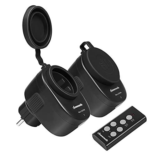 DEWENWILS Funksteckdosen mit Fernbedienung Aussen, Programmierbares Funksteckdosenset, IP44, 2er Steckdosen mit 1 Fernbedienung für Feiertagsdeko, 2300W, 30 M Reichweite, CE und TÜV zertifiziert