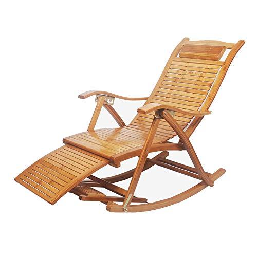 QIDI Balancement Chaise Pliant Fauteuil Bascule Plate-Forme Relaxant Inclinable Chaises Longues Siège Bambou (Couleur : T1)