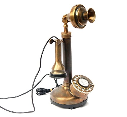 Vintage Candlestick Phone Brass Antique Telephone Rotary Dial Wired Landline Home Decor