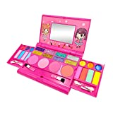 signmeili My First Makeup Set Girls Makeup Kit,Washable Kids Pretend Play Makeup Gift Set Includes Eye Shadow, Lipstick, Blush with Mirror,Realize The Girl's Princess Dream