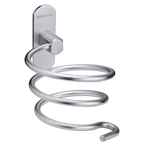 Wangel Soporte de Pared para Secador de Pelo, Pegamento Patentado + Autoadhesivo, Aluminio, Acabado Mate, Barbershop