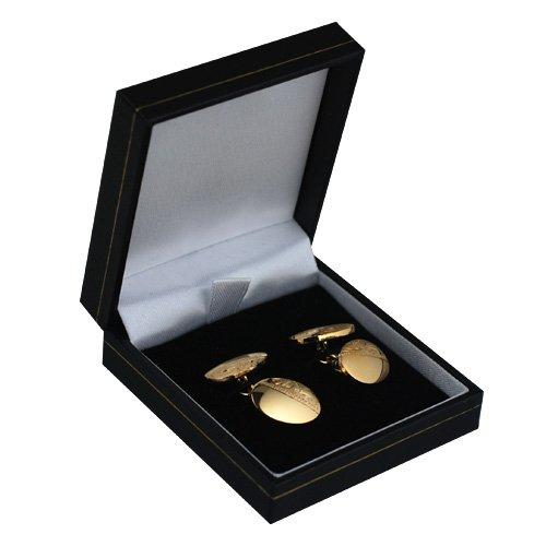 British Jewellery Workshops Boutons de Manchette plaqué Or Dur ovales 12x17mm chaîne gravés à la Main